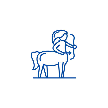 Sagittarius zodiac sign line concept icon. Sagittarius zodiac sign flat  vector website sign, outline symbol, illustration. Çizim