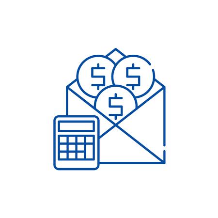 Salary line concept icon. Salary flat  vector website sign, outline symbol, illustration. Standard-Bild - 120022469