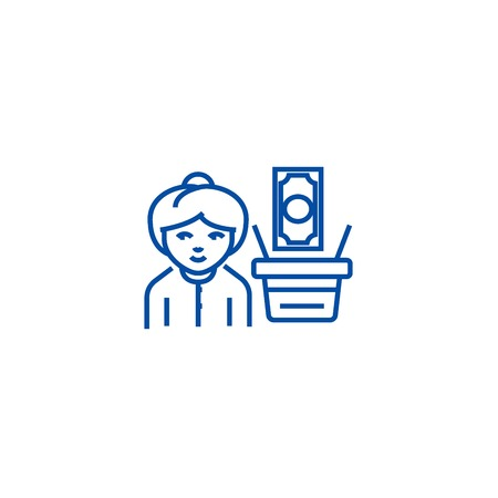 Salary,woman with cart money line concept icon. Salary,woman with cart money flat  vector website sign, outline symbol, illustration. 向量圖像