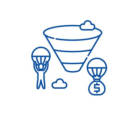 Sales funnel line concept icon. Sales funnel flat  vector website sign, outline symbol, illustration.