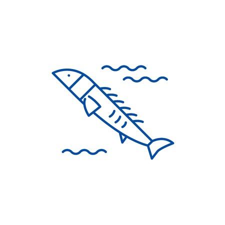 Salmon line concept icon. Salmon flat  vector website sign, outline symbol, illustration.
