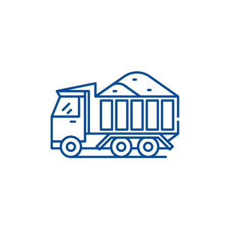 Sand machine line concept icon. Sand machine flat  vector website sign, outline symbol, illustration. Stock Vector - 120022485
