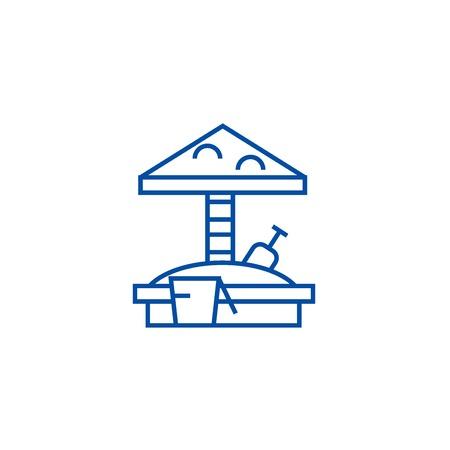 Symbol für das Konzept der Sandbox-Linie. Flaches Vektor-Website-Zeichen des Sandkastens, Entwurfssymbol, Illustration.