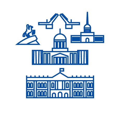 Sant petersburg, russia line concept icon. Sant petersburg, russia flat  vector website sign, outline symbol, illustration.