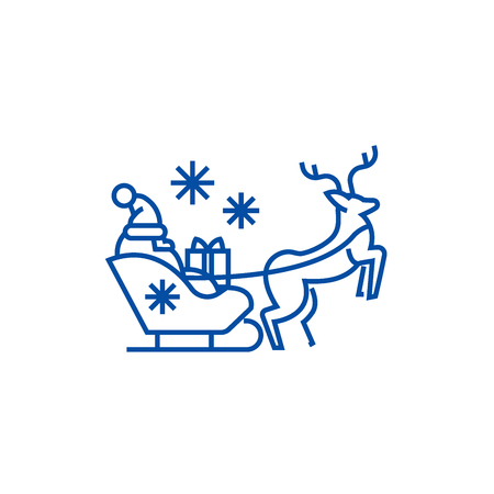 Santa claus in a sleigh with a deer line concept icon. Santa claus in a sleigh with a deer flat  vector website sign, outline symbol, illustration. Ilustração