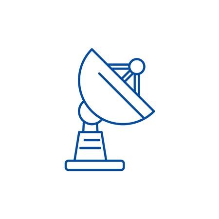 Satellite dish line concept icon. Satellite dish flat  vector website sign, outline symbol, illustration.