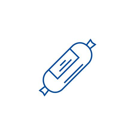 Sausages,ham line concept icon. Sausages,ham flat  vector website sign, outline symbol, illustration.
