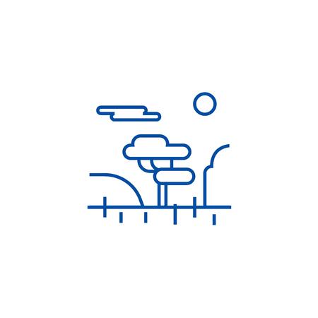 Savannah line concept icon. Savannah flat  vector website sign, outline symbol, illustration. 일러스트