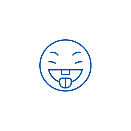 Savoring food emoji line concept icon. Savoring food emoji flat  vector website sign, outline symbol, illustration.