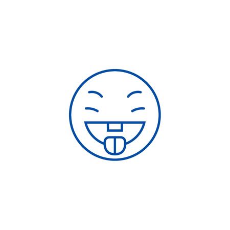 Savoring food emoji line concept icon. Savoring food emoji flat  vector website sign, outline symbol, illustration.