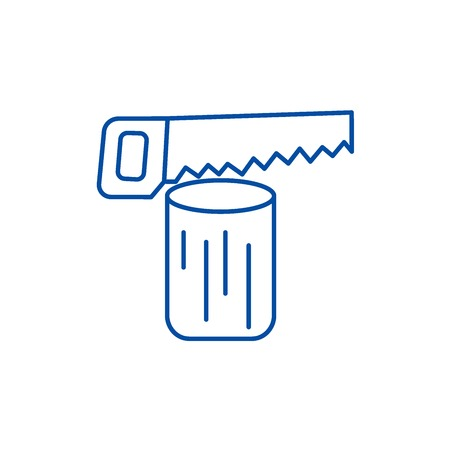 Saw log,chainsaw  line concept icon. Saw log,chainsaw  flat  vector website sign, outline symbol, illustration.