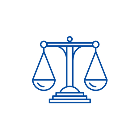 Scales of justice line concept icon. Scales of justice flat  vector website sign, outline symbol, illustration. Banco de Imagens - 120023675