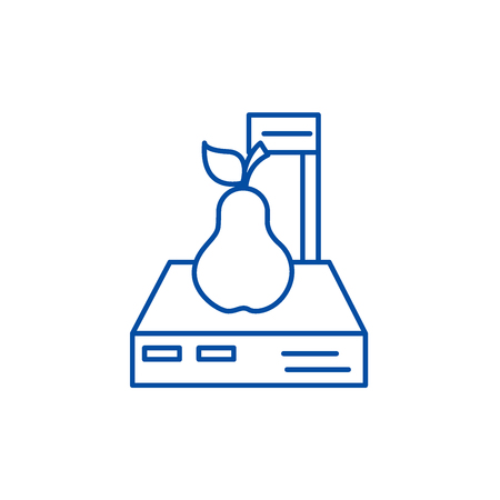 Scales shop,pear line concept icon. Scales shop,pear flat  vector website sign, outline symbol, illustration. Banque d'images - 120023678