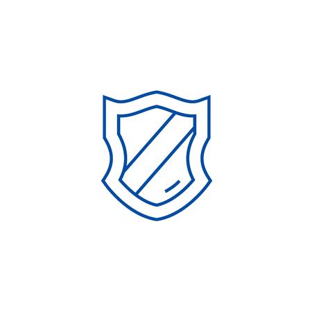 Schield line concept icon. Schield flat  vector website sign, outline symbol, illustration. Banque d'images - 120023684