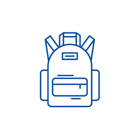 School bag line concept icon. School bag flat  vector website sign, outline symbol, illustration. Standard-Bild - 120023688