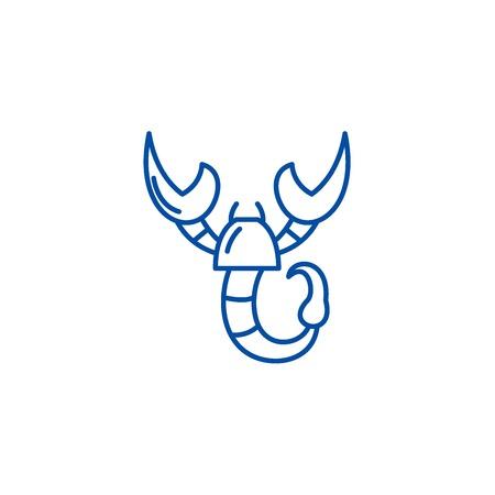 Scorpio zodiac sign line concept icon. Scorpio zodiac sign flat  vector website sign, outline symbol, illustration.