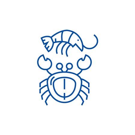 Seafood line concept icon. Seafood flat  vector website sign, outline symbol, illustration.