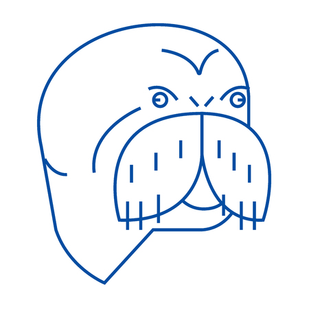 Seal head line concept icon. Seal head flat  vector website sign, outline symbol, illustration. Иллюстрация
