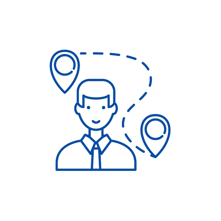 Search for a solution line concept icon. Search for a solution flat  vector website sign, outline symbol, illustration. Stockfoto - 120186041