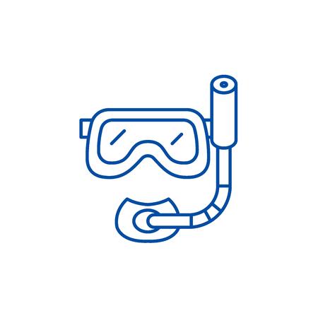 Scuba diving mask line concept icon. Scuba diving mask flat  vector website sign, outline symbol, illustration. Standard-Bild - 120186047