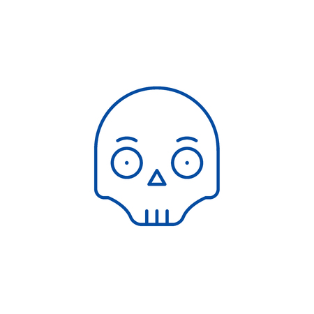Scull emoji line concept icon. Scull emoji flat  vector website sign, outline symbol, illustration.
