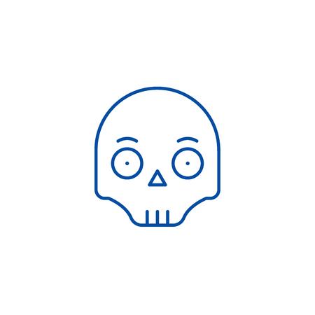 Scull emoji line concept icon. Scull emoji flat  vector website sign, outline symbol, illustration.