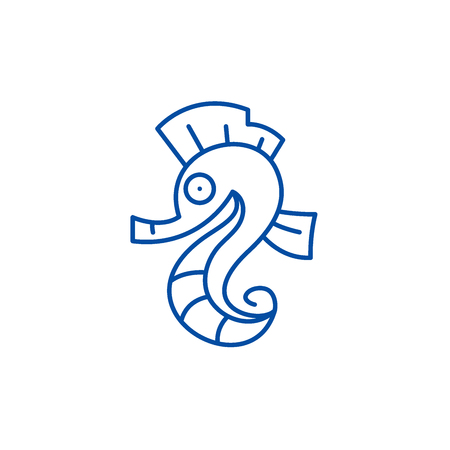 Sea horse line concept icon. Sea horse flat  vector website sign, outline symbol, illustration. Foto de archivo - 120186050