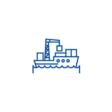 Sea logistics, ship line concept icon. Sea logistics, ship flat  vector website sign, outline symbol, illustration.