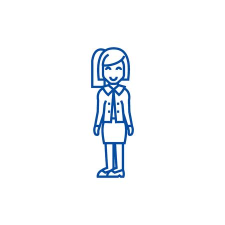 Secretary,office woman,assistance line concept icon. Secretary,office woman,assistance flat  vector website sign, outline symbol, illustration. 向量圖像