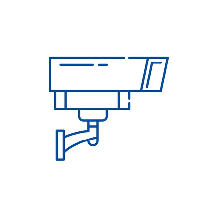 Security camera line concept icon. Security camera flat  vector website sign, outline symbol, illustration.