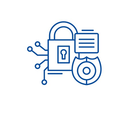 Security framework line concept icon. Security framework flat  vector website sign, outline symbol, illustration. 일러스트