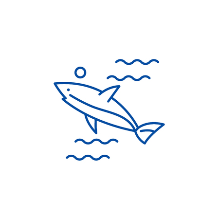 Shark line concept icon. Shark flat  vector website sign, outline symbol, illustration. Reklamní fotografie - 120023848