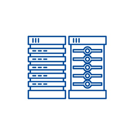 Servers line concept icon. Servers flat  vector website sign, outline symbol, illustration. 일러스트