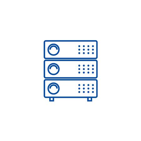 Servers illustration line concept icon. Servers illustration flat  vector website sign, outline symbol, illustration.