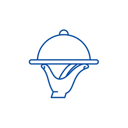 Service line concept icon. Service flat  vector website sign, outline symbol, illustration.  イラスト・ベクター素材