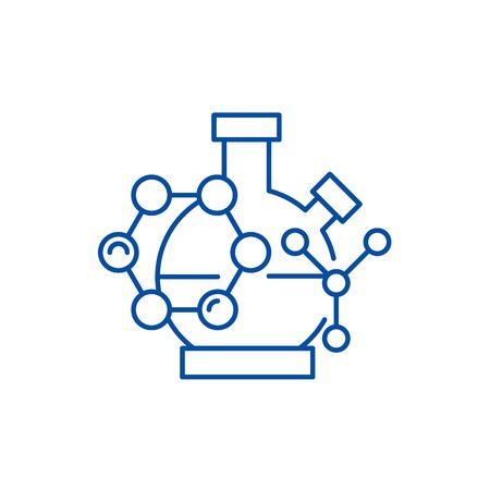 Scientific research line concept icon. Scientific research flat  vector website sign, outline symbol, illustration. Stock Vector - 120023883
