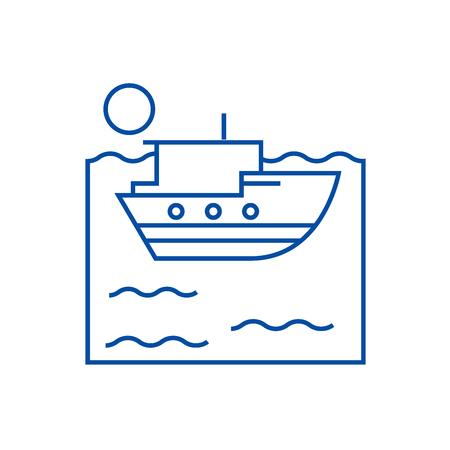 Sea ship line concept icon. Sea ship flat  vector website sign, outline symbol, illustration. Illustration