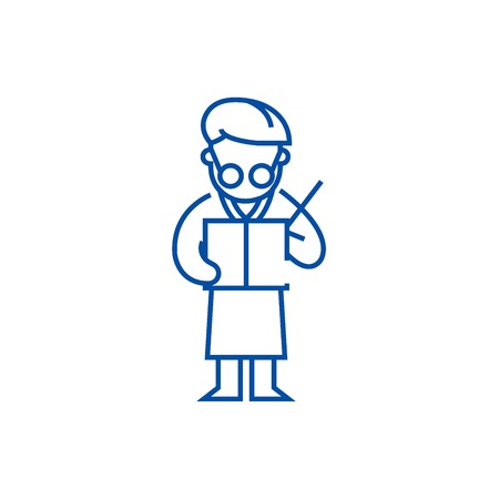 Scientist writing  line concept icon. Scientist writing  flat  vector website sign, outline symbol, illustration.