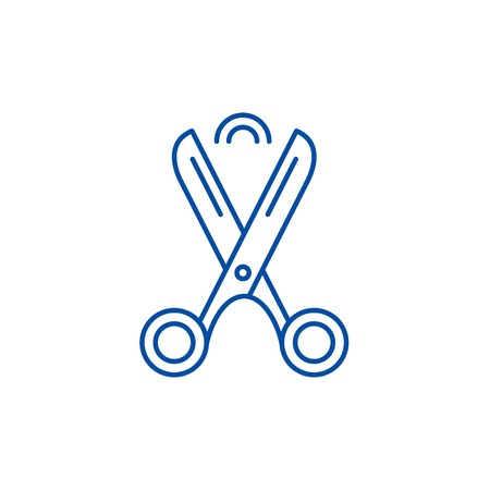 Scissors line concept icon. Scissors flat  vector website sign, outline symbol, illustration.
