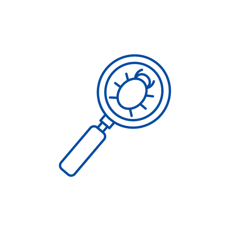 Searching bug line concept icon. Searching bug flat  vector website sign, outline symbol, illustration. 일러스트
