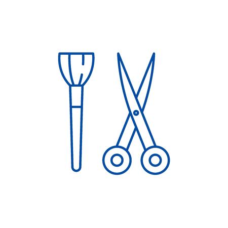 Scissors and visagiste brush line concept icon. Scissors and visagiste brush flat  vector website sign, outline symbol, illustration.