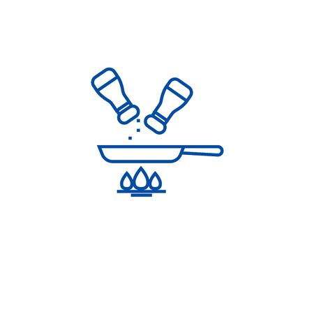Seasoning food line concept icon. Seasoning food flat  vector website sign, outline symbol, illustration.