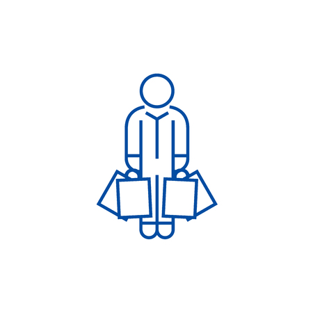 Shopper man with bags line concept icon. Shopper man with bags flat  vector website sign, outline symbol, illustration.