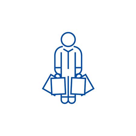 Uomo del cliente con l'icona del concetto di linea di borse. Shopper uomo con borse vettore piatto sito web segno, simbolo di contorno, illustrazione. Vettoriali