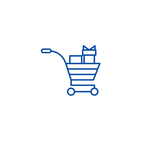 Shopping cart with gifts line concept icon. Shopping cart with gifts flat  vector website sign, outline symbol, illustration. Illustration