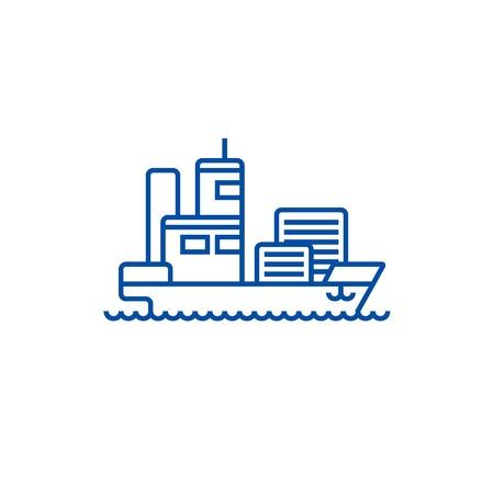 Ship cargo container  line concept icon. Ship cargo container  flat  vector website sign, outline symbol, illustration. Illusztráció