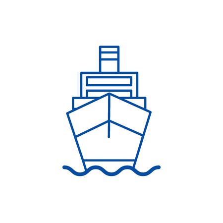 Ship cargo, logistics line concept icon. Ship cargo, logistics flat  vector website sign, outline symbol, illustration. Archivio Fotografico - 120024304
