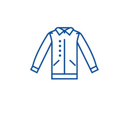 Shirt with vest line concept icon. Shirt with vest flat  vector website sign, outline symbol, illustration.