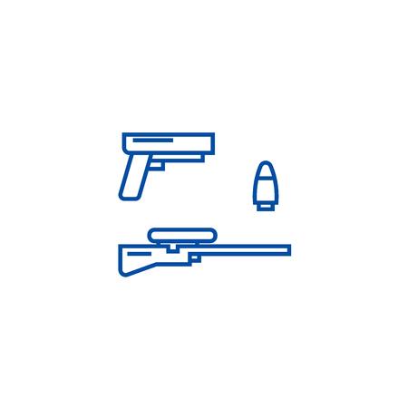 Shooter game, gun, rifle, bullet line concept icon. Shooter game, gun, rifle, bullet flat  vector website sign, outline symbol, illustration. Ilustração