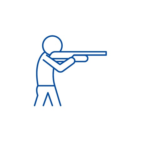 Shooting a gun line concept icon. Shooting a gun flat  vector website sign, outline symbol, illustration.